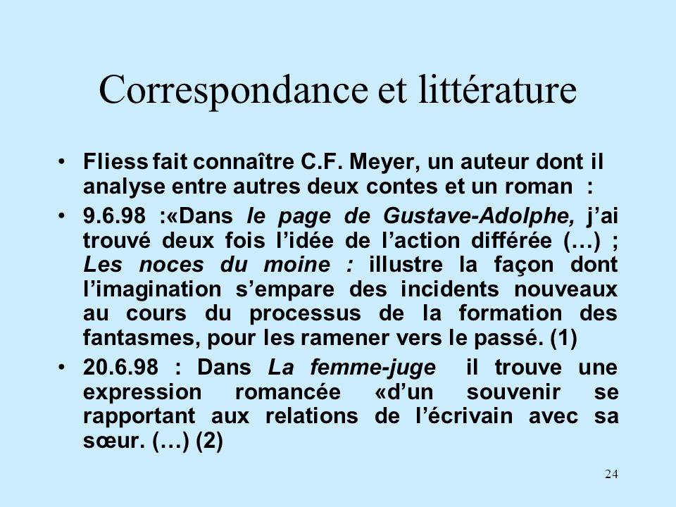 24 Correspondance et littérature Fliess fait connaître C.F. Meyer, un auteur dont il analyse entre autres deux contes et un roman : 9.6.98 :«Dans le p