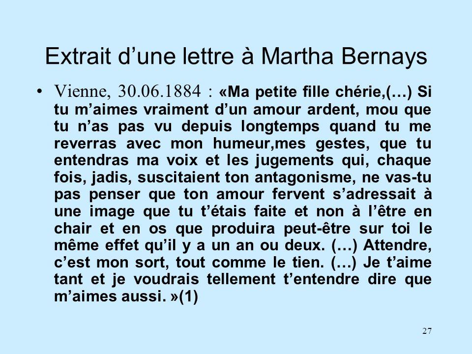 27 Extrait dune lettre à Martha Bernays Vienne, 30.06.1884 : «Ma petite fille chérie,(…) Si tu maimes vraiment dun amour ardent, mou que tu nas pas vu