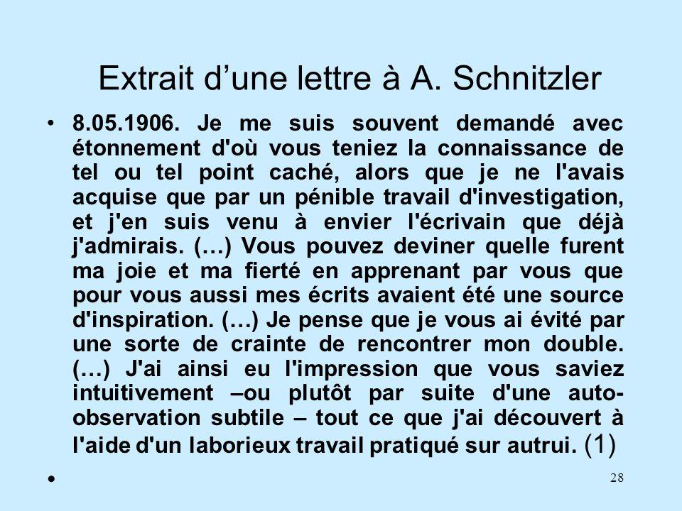 28 Extrait dune lettre à A. Schnitzler 8.05.1906. Je me suis souvent demandé avec étonnement d'où vous teniez la connaissance de tel ou tel point cach