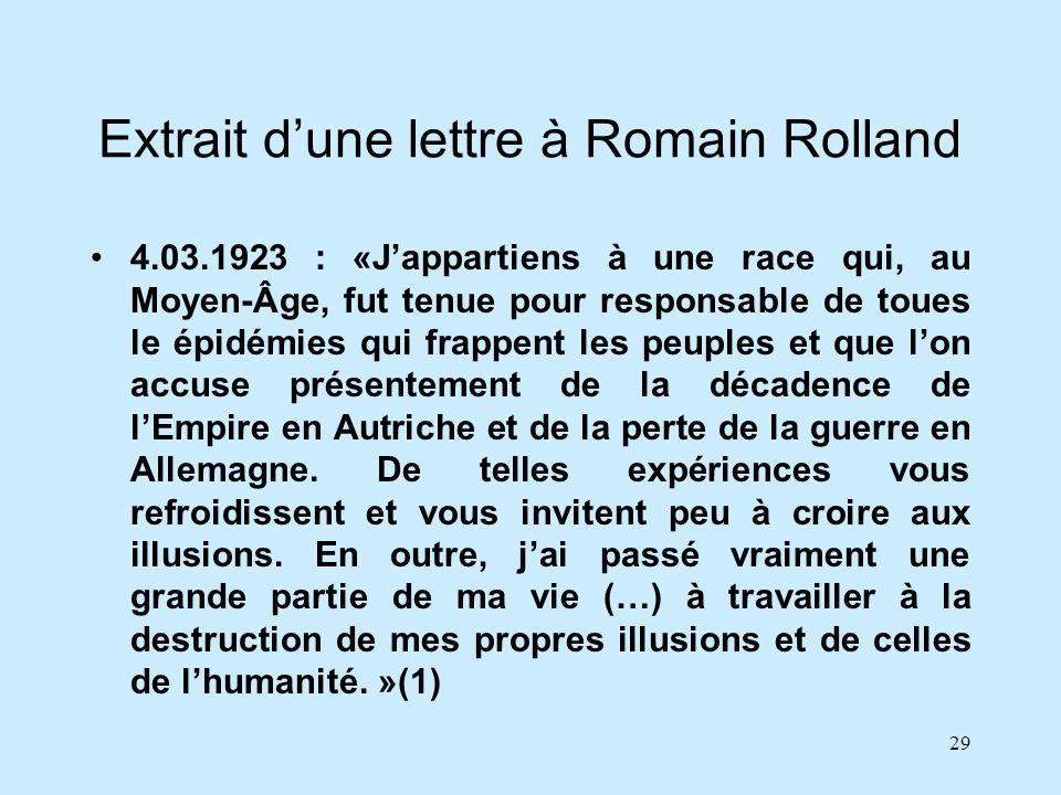 29 Extrait dune lettre à Romain Rolland 4.03.1923 : «Jappartiens à une race qui, au Moyen-Âge, fut tenue pour responsable de toues le épidémies qui fr