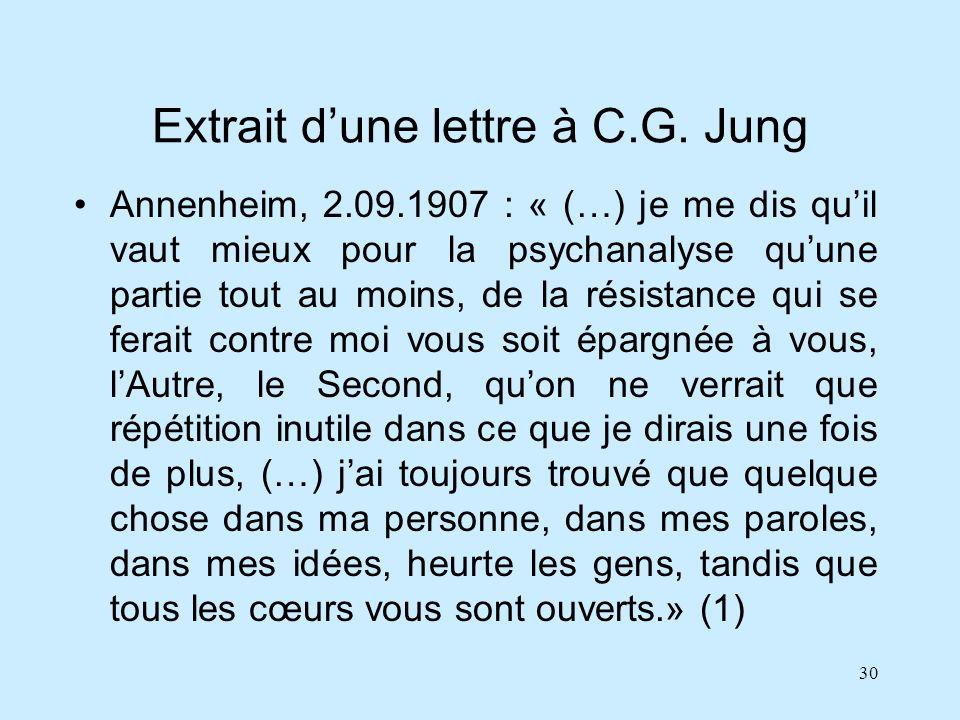 30 Extrait dune lettre à C.G. Jung Annenheim, 2.09.1907 : « (…) je me dis quil vaut mieux pour la psychanalyse quune partie tout au moins, de la résis