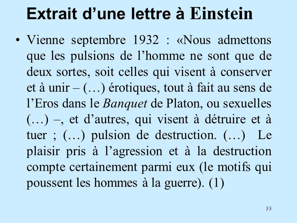 33 Extrait dune lettre à Einstein Vienne septembre 1932 : «Nous admettons que les pulsions de lhomme ne sont que de deux sortes, soit celles qui visen