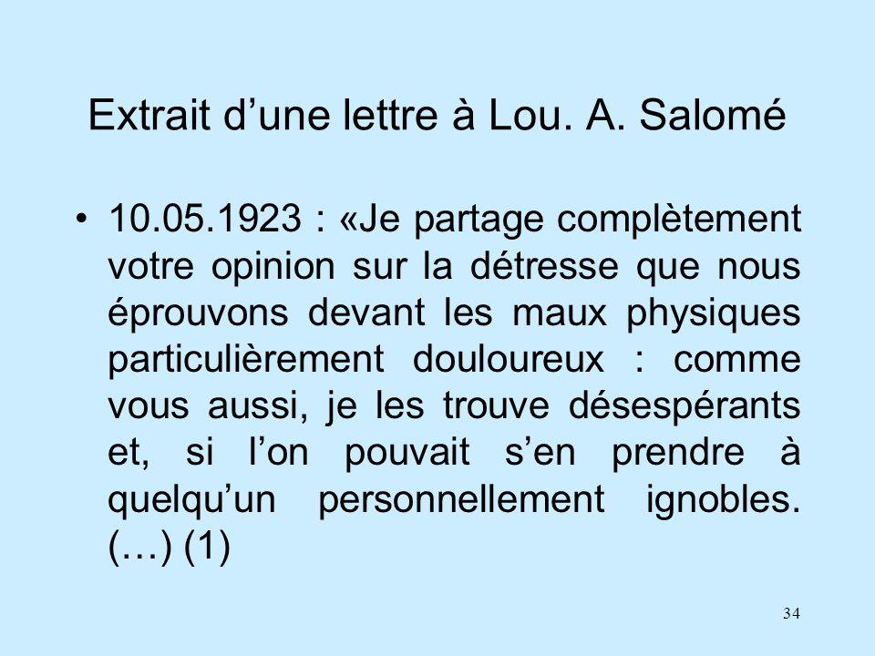 34 Extrait dune lettre à Lou. A. Salomé 10.05.1923 : «Je partage complètement votre opinion sur la détresse que nous éprouvons devant les maux physiqu
