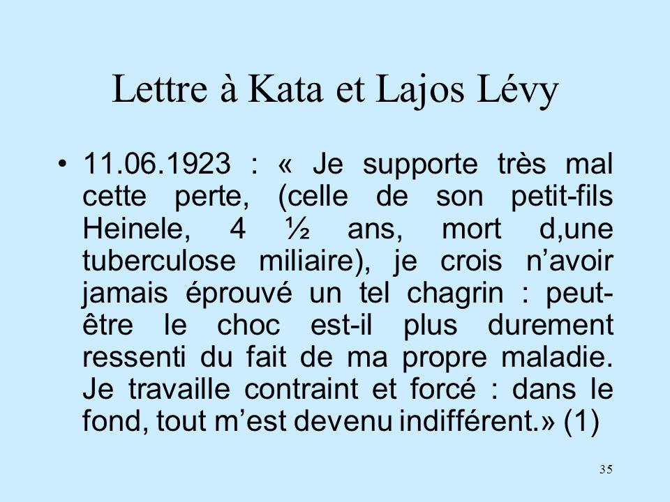 35 Lettre à Kata et Lajos Lévy 11.06.1923 : « Je supporte très mal cette perte, (celle de son petit-fils Heinele, 4 ½ ans, mort d,une tuberculose mili