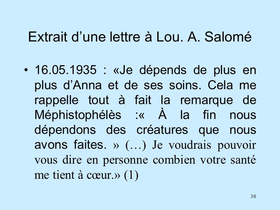 36 Extrait dune lettre à Lou. A. Salomé 16.05.1935 : «Je dépends de plus en plus dAnna et de ses soins. Cela me rappelle tout à fait la remarque de Mé