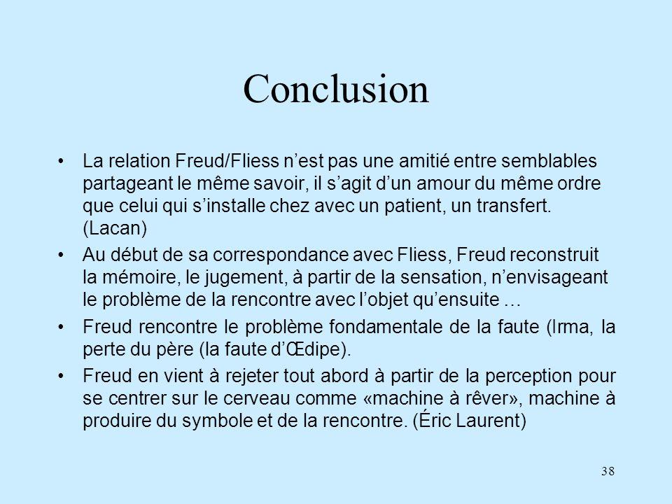 38 Conclusion La relation Freud/Fliess nest pas une amitié entre semblables partageant le même savoir, il sagit dun amour du même ordre que celui qui
