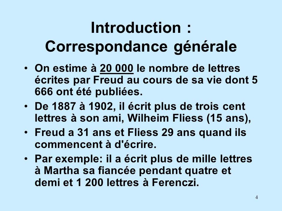4 Introduction : Correspondance générale On estime à 20 000 le nombre de lettres écrites par Freud au cours de sa vie dont 5 666 ont été publiées. De