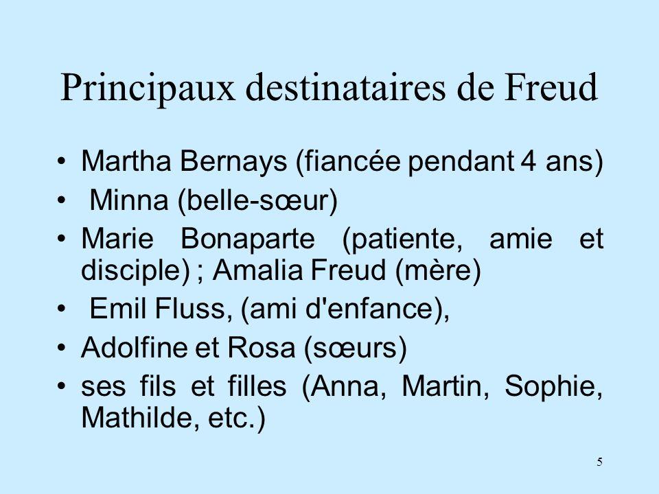 5 Principaux destinataires de Freud Martha Bernays (fiancée pendant 4 ans) Minna (belle-sœur) Marie Bonaparte (patiente, amie et disciple) ; Amalia Fr