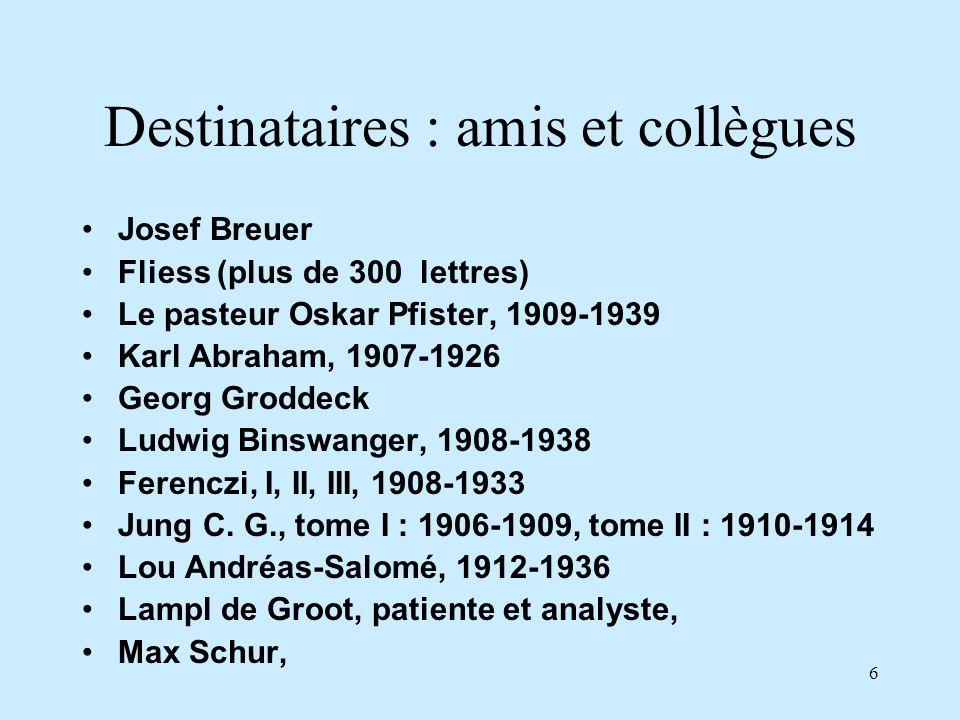 6 Destinataires : amis et collègues Josef Breuer Fliess (plus de 300 lettres) Le pasteur Oskar Pfister, 1909-1939 Karl Abraham, 1907-1926 Georg Grodde