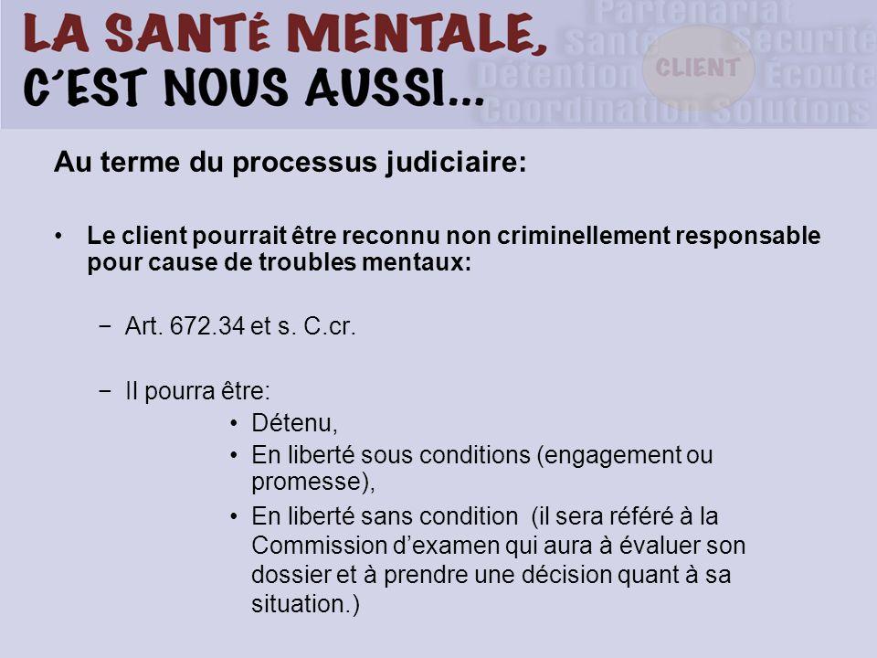 Au terme du processus judiciaire: Le client pourrait être reconnu non criminellement responsable pour cause de troubles mentaux: Art.