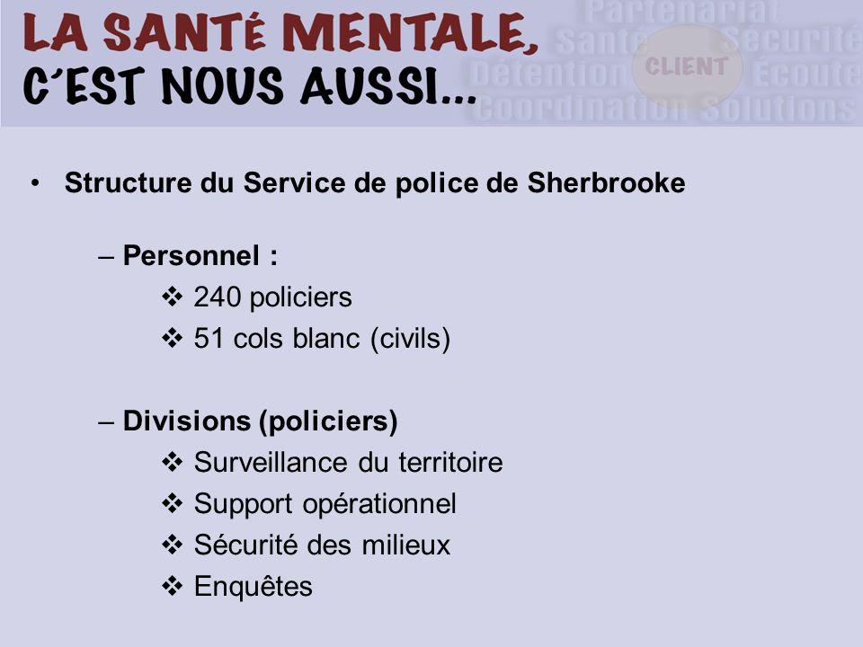 Structure du Service de police de Sherbrooke – Personnel : 240 policiers 51 cols blanc (civils) – Divisions (policiers) Surveillance du territoire Support opérationnel Sécurité des milieux Enquêtes