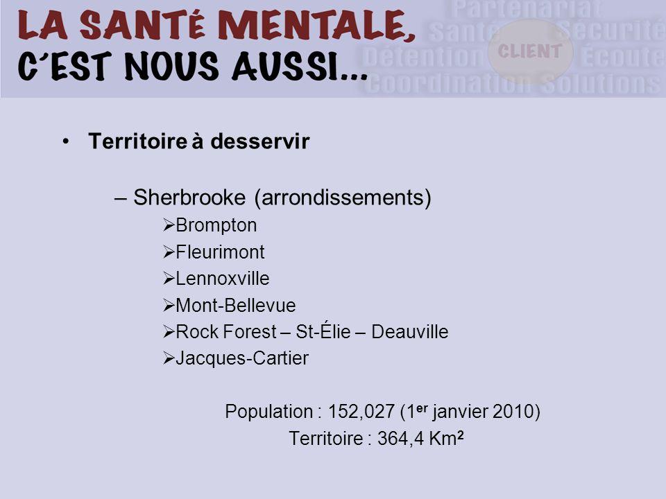 Territoire à desservir – Sherbrooke (arrondissements) Brompton Fleurimont Lennoxville Mont-Bellevue Rock Forest – St-Élie – Deauville Jacques-Cartier Population : 152,027 (1 er janvier 2010) Territoire : 364,4 Km 2