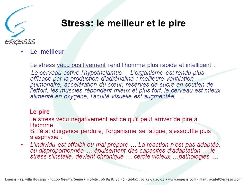 Stress: le meilleur et le pire Le meilleur Le stress vécu positivement rend lhomme plus rapide et intelligent : Le cerveau active lhypothalamus… Lorga
