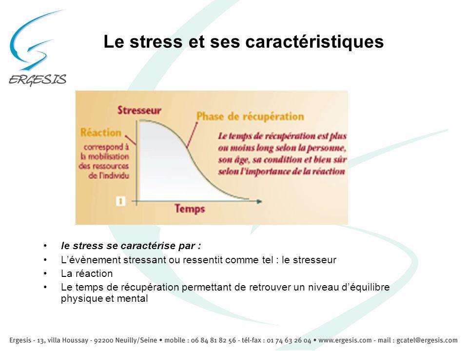 Le stress et ses caractéristiques le stress se caractérise par : Lévènement stressant ou ressentit comme tel : le stresseur La réaction Le temps de ré