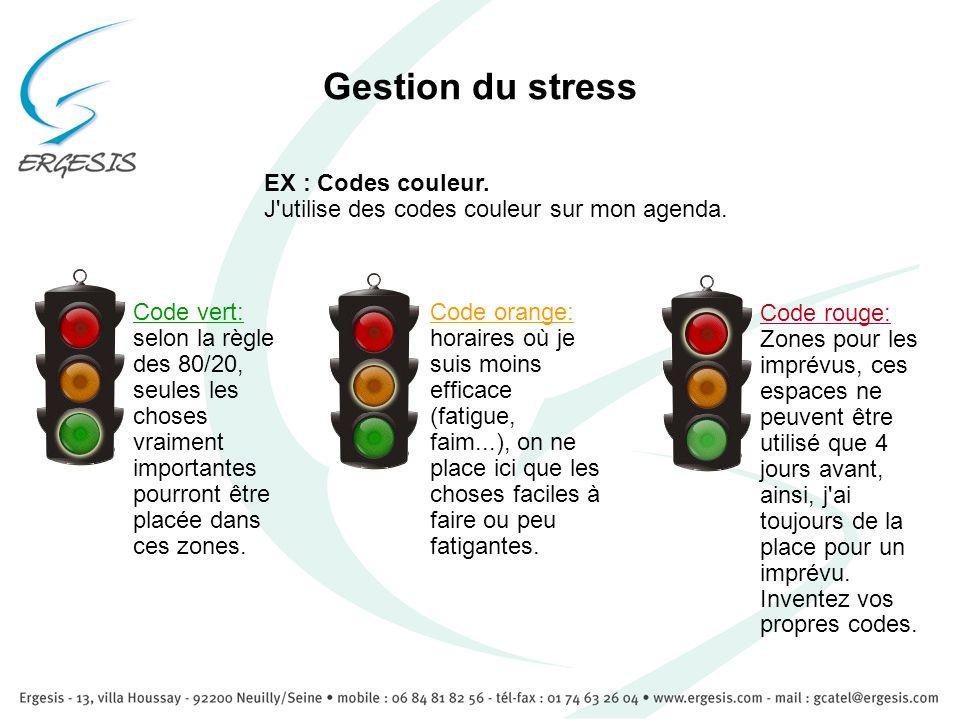 Gestion du stress Code vert: selon la règle des 80/20, seules les choses vraiment importantes pourront être placée dans ces zones. Code orange: horair