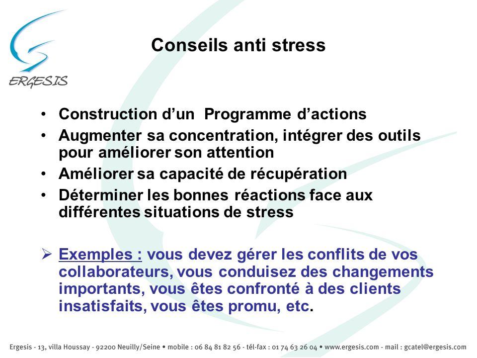 Conseils anti stress Construction dun Programme dactions Augmenter sa concentration, intégrer des outils pour améliorer son attention Améliorer sa cap