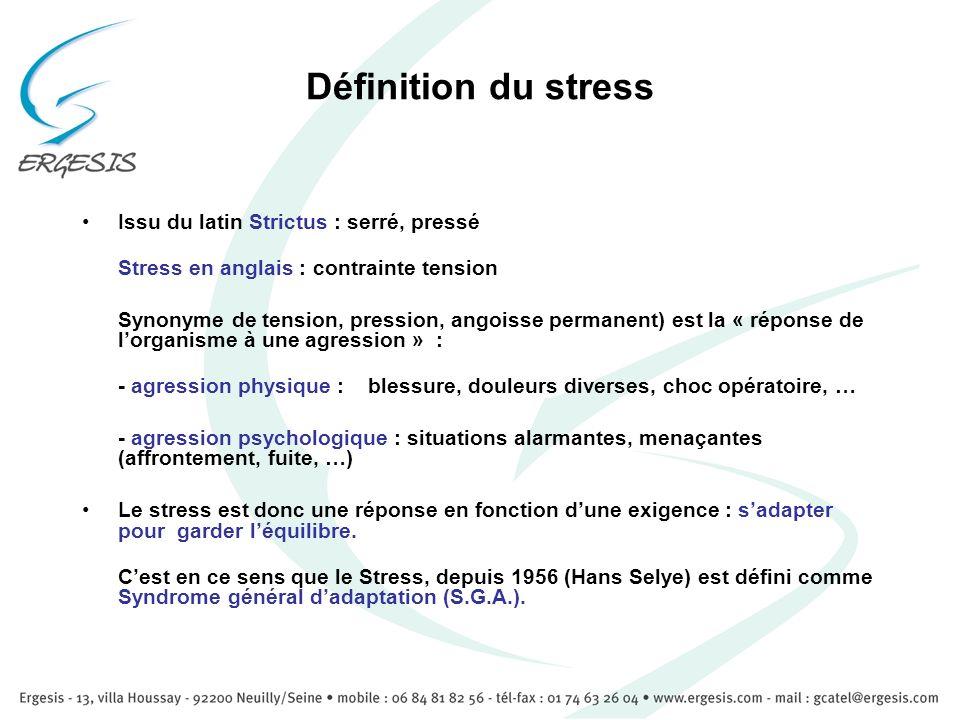 Définition du stress Issu du latin Strictus : serré, pressé Stress en anglais : contrainte tension Synonyme de tension, pression, angoisse permanent)