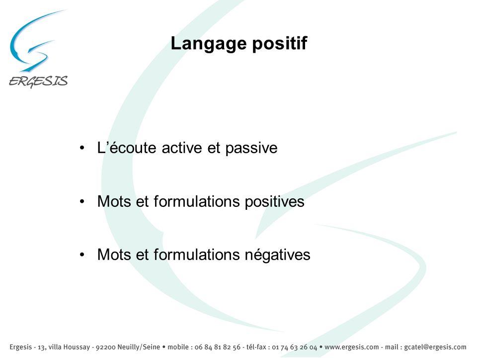 Langage positif Lécoute active et passive Mots et formulations positives Mots et formulations négatives