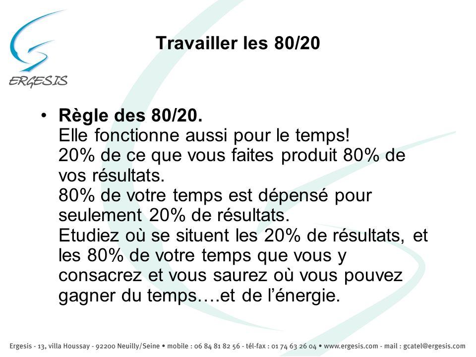 Travailler les 80/20 Règle des 80/20. Elle fonctionne aussi pour le temps! 20% de ce que vous faites produit 80% de vos résultats. 80% de votre temps