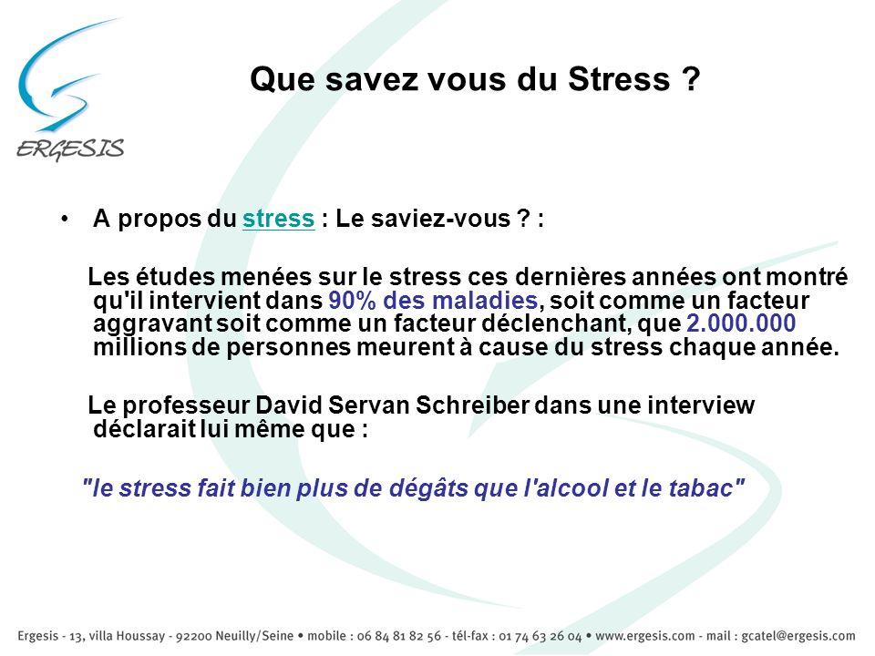 Que savez vous du Stress ? A propos du stress : Le saviez-vous ? :stress Les études menées sur le stress ces dernières années ont montré qu'il intervi
