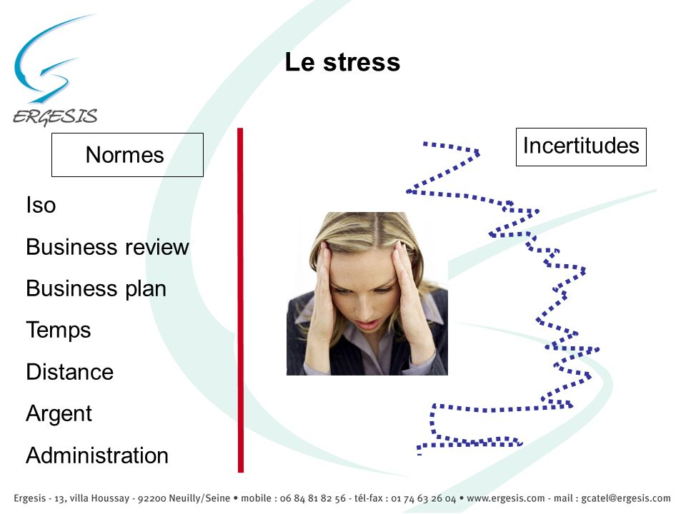 Le stress Normes Incertitudes Iso Business review Business plan Temps Distance Argent Administration