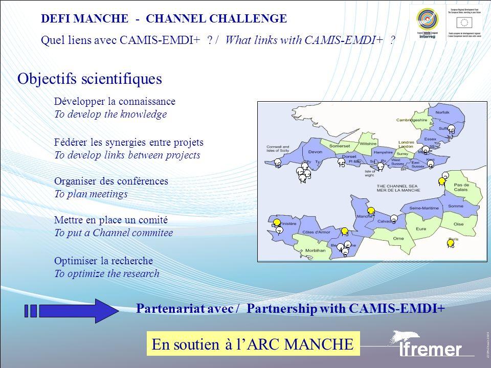 DEFI MANCHE - CHANNEL CHALLENGE Quel liens avec CAMIS-EMDI+ ? / What links with CAMIS-EMDI+ ? Développer la connaissance To develop the knowledge Fédé