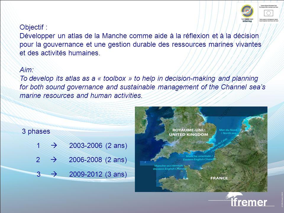 Objectif : Développer un atlas de la Manche comme aide à la réflexion et à la décision pour la gouvernance et une gestion durable des ressources marin
