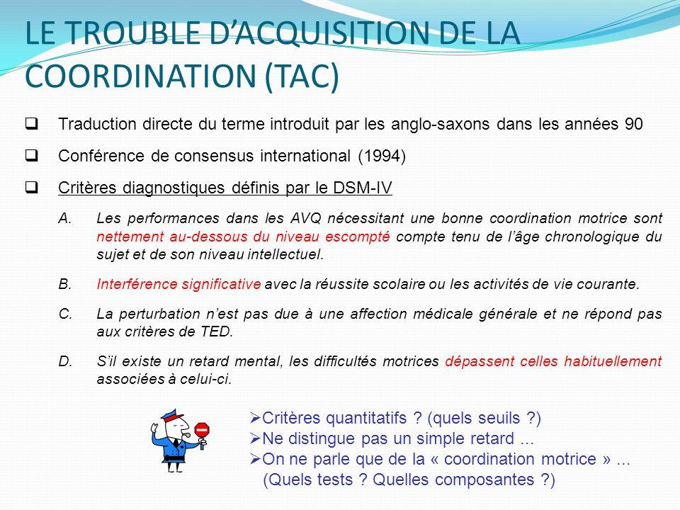 LE TROUBLE DACQUISITION DE LA COORDINATION (TAC) Traduction directe du terme introduit par les anglo-saxons dans les années 90 Conférence de consensus