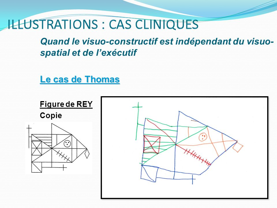 Quand le visuo-constructif est indépendant du visuo- spatial et de lexécutif Le cas de Thomas Figure de REY Copie