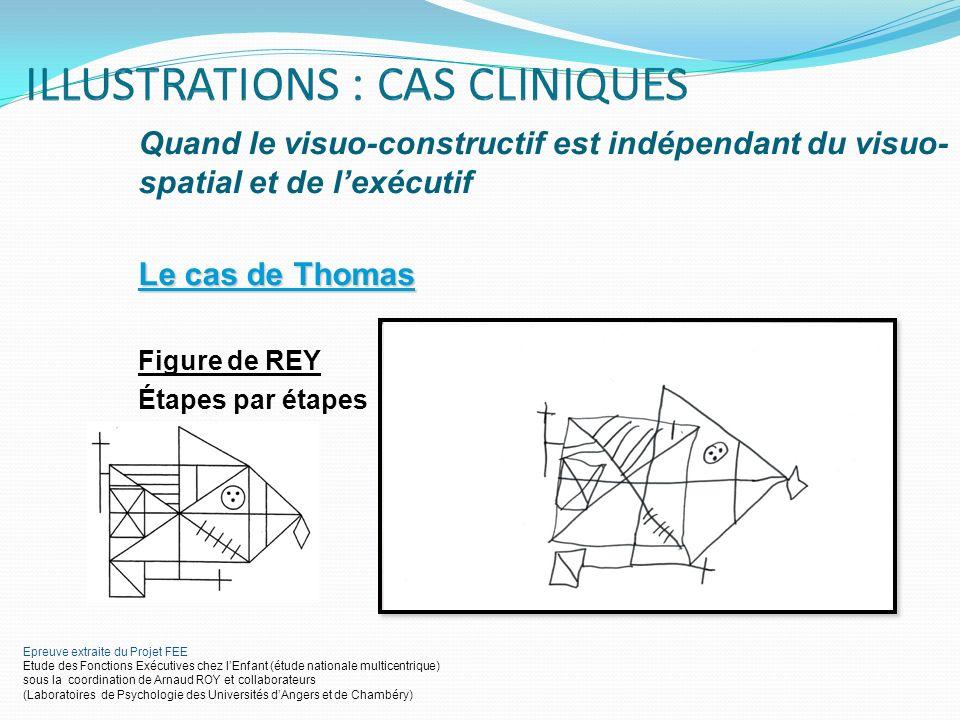 Quand le visuo-constructif est indépendant du visuo- spatial et de lexécutif Le cas de Thomas Figure de REY Étapes par étapes Epreuve extraite du Proj