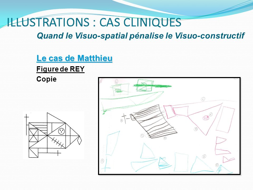 Quand le Visuo-spatial pénalise le Visuo-constructif Le cas de Matthieu Figure de REY Copie