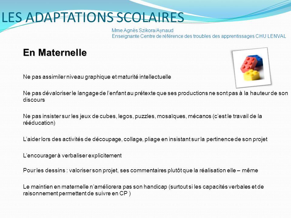LES ADAPTATIONS SCOLAIRES En Maternelle Ne pas assimiler niveau graphique et maturité intellectuelle Ne pas dévaloriser le langage de lenfant au préte