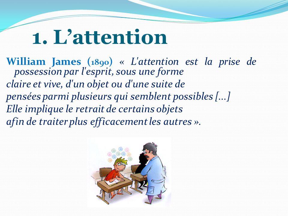 1. Lattention William James ( 1890 ) « L'attention est la prise de possession par l'esprit, sous une forme claire et vive, d'un objet ou d'une suite d