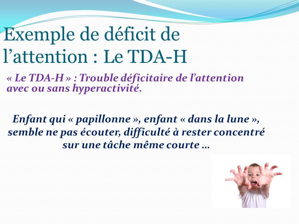 Exemple de déficit de lattention : Le TDA-H « Le TDA-H » : Trouble déficitaire de lattention avec ou sans hyperactivité. Enfant qui « papillonne », en