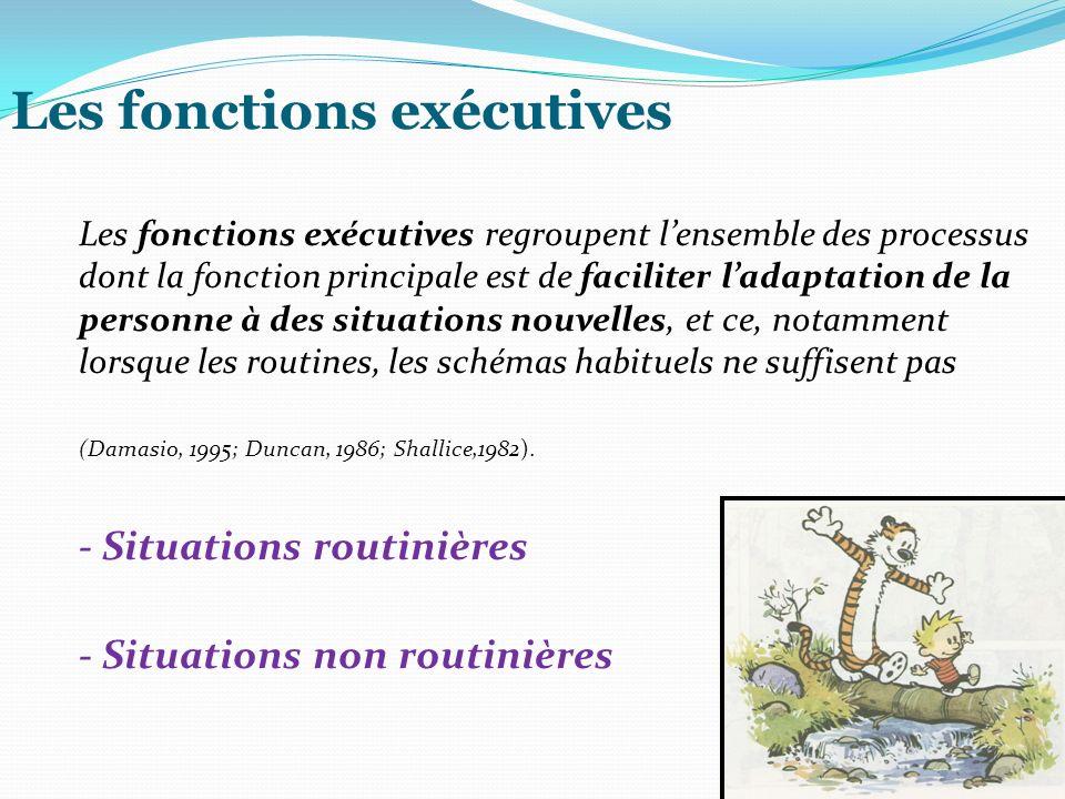 Les fonctions exécutives Les fonctions exécutives regroupent lensemble des processus dont la fonction principale est de faciliter ladaptation de la pe