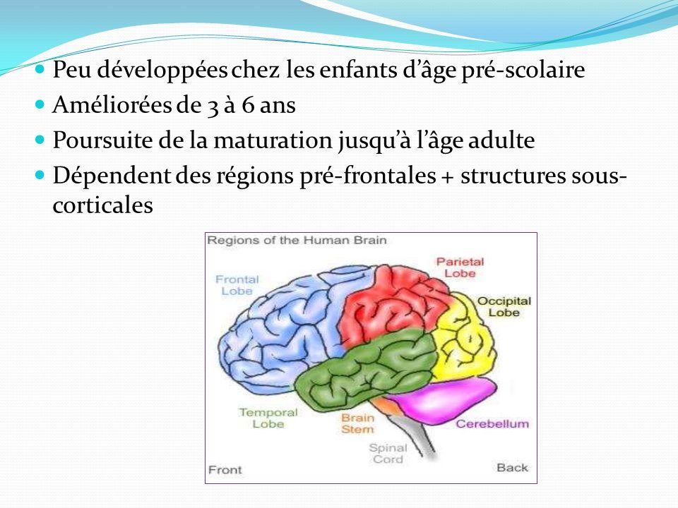 Peu développées chez les enfants dâge pré-scolaire Améliorées de 3 à 6 ans Poursuite de la maturation jusquà lâge adulte Dépendent des régions pré-fro