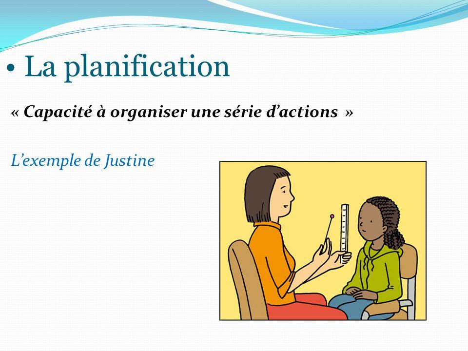 La planification « Capacité à organiser une série dactions » Lexemple de Justine