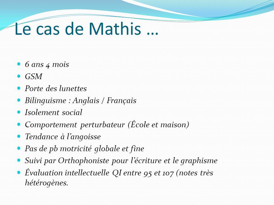 Le cas de Mathis … 6 ans 4 mois GSM Porte des lunettes Bilinguisme : Anglais / Français Isolement social Comportement perturbateur (École et maison) T