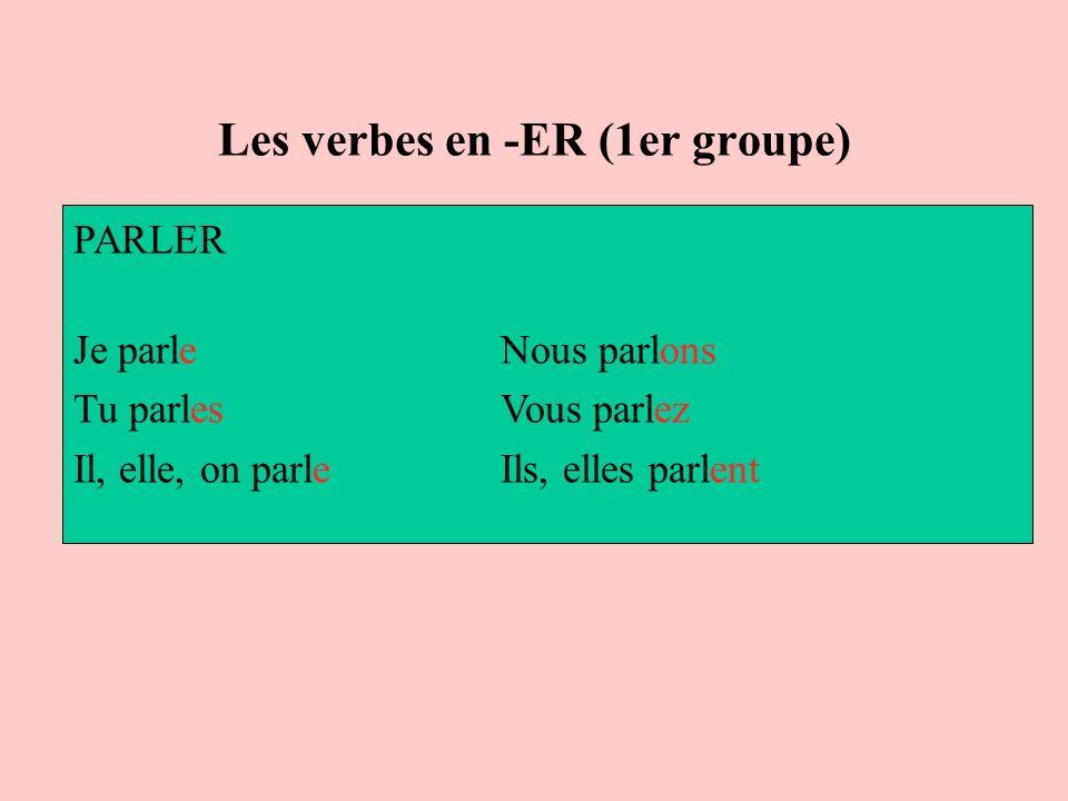 Les verbes en -ER (1er groupe) PARLER Je parle Nous parlons Tu parles Vous parlez Il, elle, on parle Ils, elles parlent