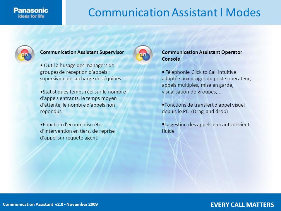 Communication Assistant v2.0 - November 2009 EVERY CALL MATTERS Communication Assistant – Superviseur En plus des fonctions de Communication Assistant, (Chat, gestion dee présence,..), CA Superviseur offre : Log-in / Log-out : Le superviseur adapte dynamiquement la taille des groupes dappels Interventions : entrée en écoute discrète, entrée en tiers, reprise de conversation,..