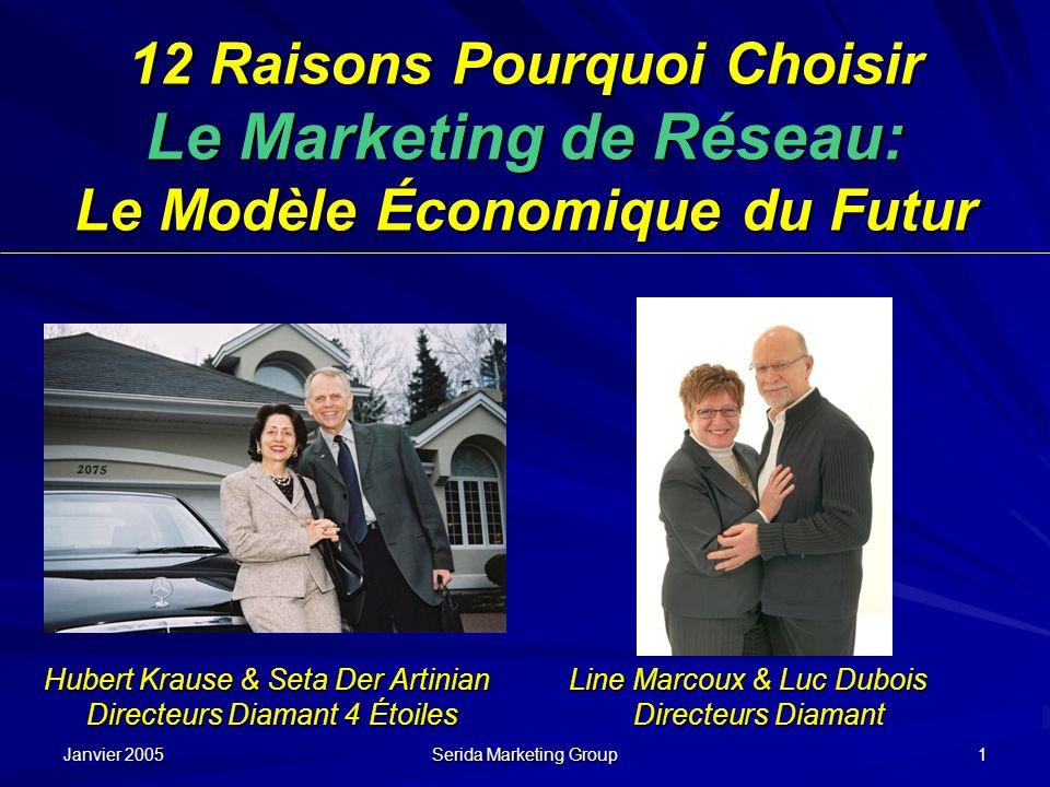 Janvier 2005 Serida Marketing Group 1 12 Raisons Pourquoi Choisir Le Marketing de Réseau: Le Modèle Économique du Futur Hubert Krause & Seta Der Artin