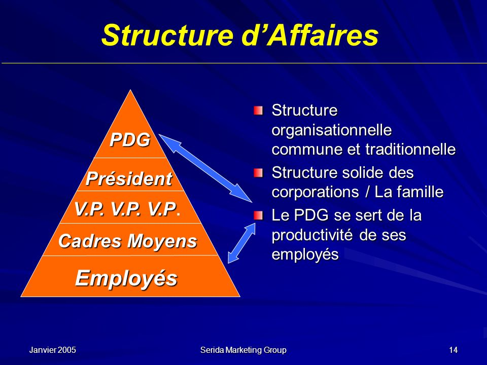 Janvier 2005 Serida Marketing Group 14 Structure dAffaires Structure organisationnelle commune et traditionnelle Structure solide des corporations / L