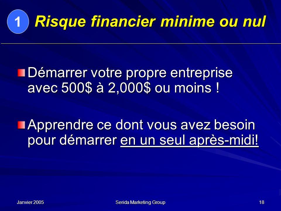 Janvier 2005 Serida Marketing Group 18 Risque financier minime ou nul Démarrer votre propre entreprise avec 500$ à 2,000$ ou moins ! Apprendre ce dont