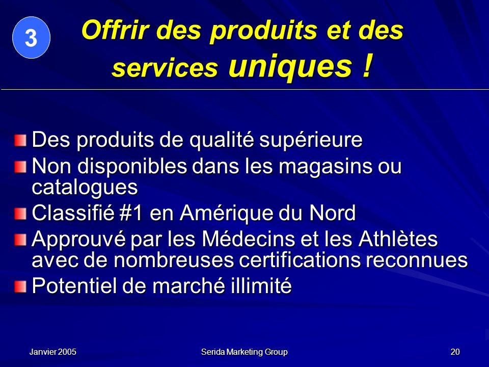 Janvier 2005 Serida Marketing Group 20 Offrir des produits et des services uniques ! Des produits de qualité supérieure Non disponibles dans les magas