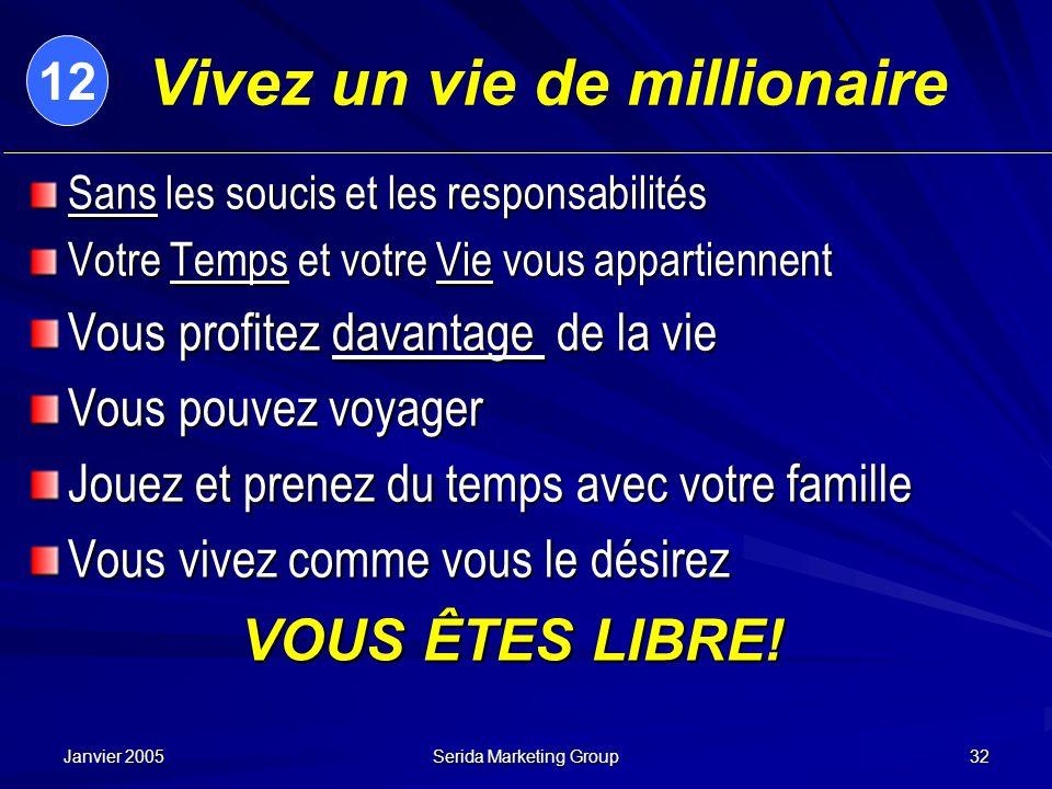 Janvier 2005 Serida Marketing Group 32 Vivez un vie de millionaire Sans les soucis et les responsabilités Votre Temps et votre Vie vous appartiennent