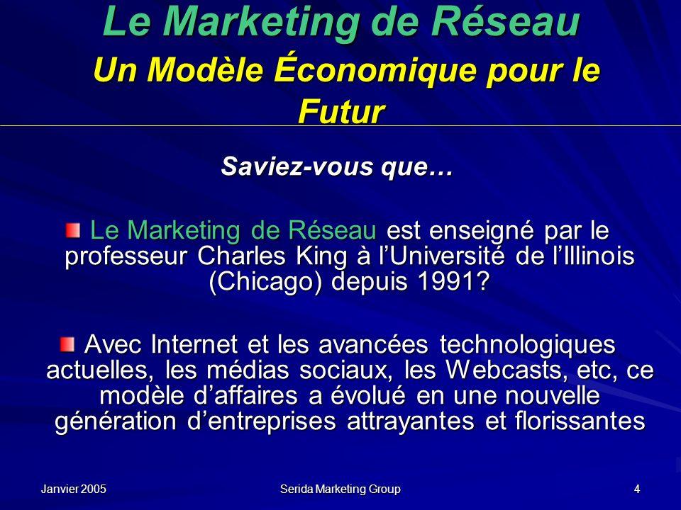 Janvier 2005 Serida Marketing Group 4 Le Marketing de Réseau Un Modèle Économique pour le Futur Saviez-vous que… Le Marketing de Réseau est enseigné p
