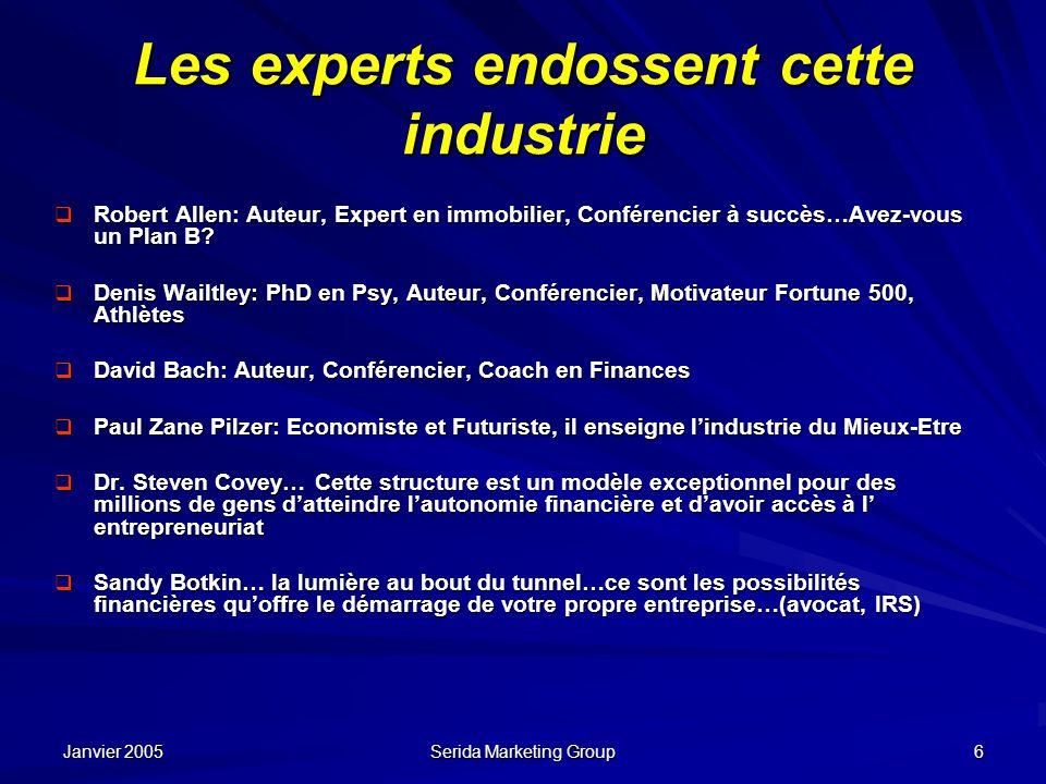 Janvier 2005 Serida Marketing Group 6 Les experts endossent cette industrie Robert Allen: Auteur, Expert en immobilier, Conférencier à succès…Avez-vou