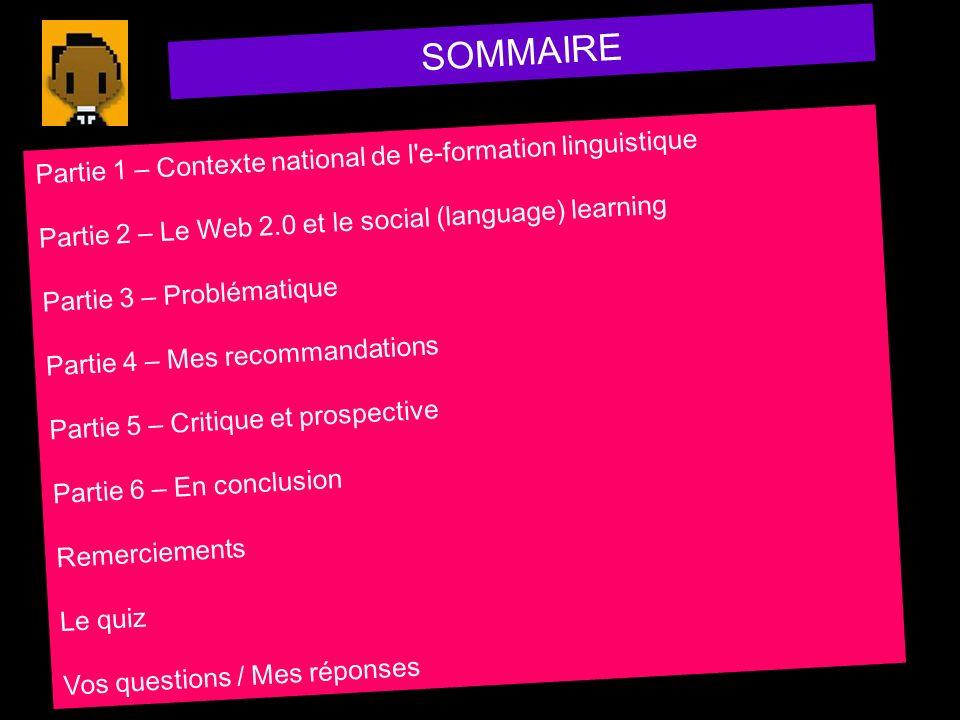 SOMMAIRE Partie 1 – Contexte national de l'e-formation linguistique Partie 2 – Le Web 2.0 et le social (language) learning Partie 3 – Problématique Pa