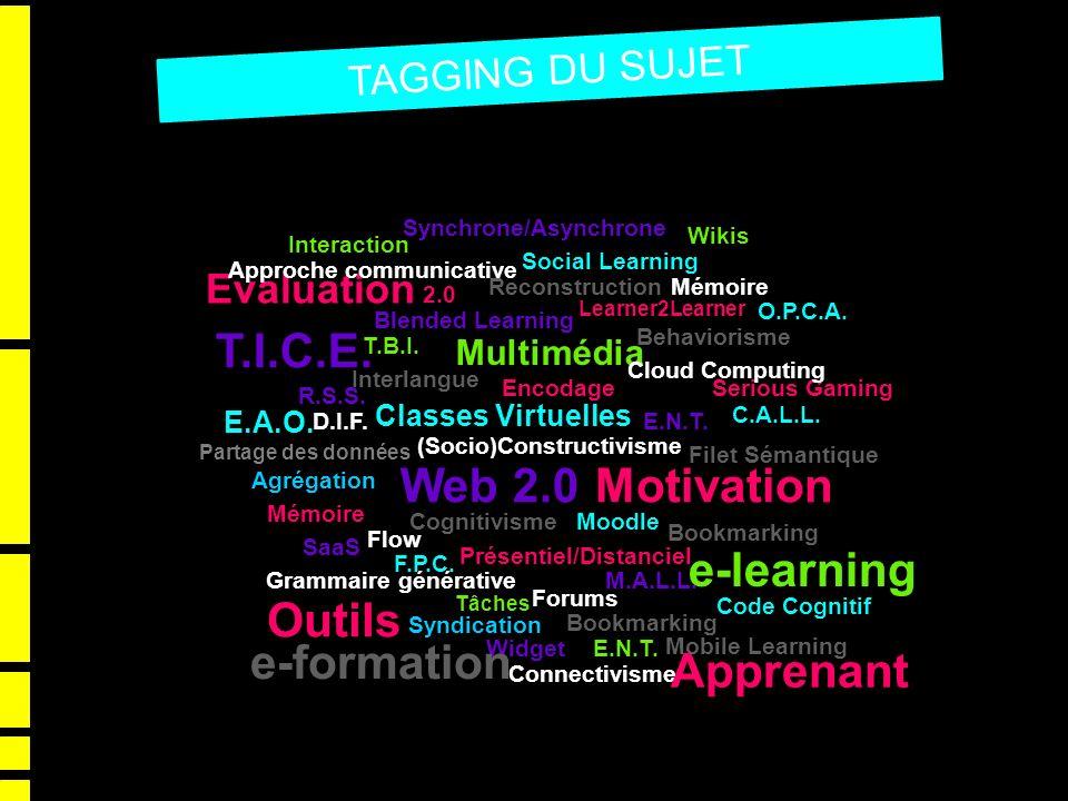 TAGGING DU SUJET Evaluation 2.0 Partage des données T.I.C.E. MotivationWeb 2.0 Multimédia Learner2Learner Tâches Wikis e-learning Classes Virtuelles S