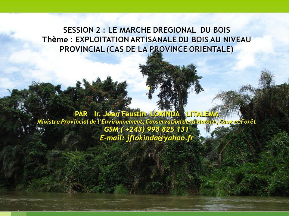 Dominique Fauroux Droit de lenvironnement au CONGO. SESSION 2 : LE MARCHE DREGIONAL DU BOIS Th è me : EXPLOITATION ARTISANALE DU BOIS AU NIVEAU PROVIN
